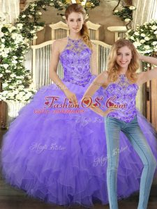 Sophisticated Lavender Lace Up Quinceanera Dresses Beading and Ruffles Sleeveless Floor Length