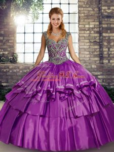 Traditional Floor Length Purple Quinceanera Gowns Straps Sleeveless Lace Up