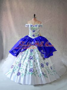Blue And White Sleeveless Embroidery and Ruffles Floor Length Quince Ball Gowns