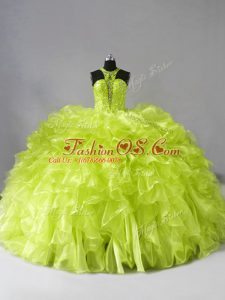 Organza Sleeveless Quince Ball Gowns Brush Train and Beading and Ruffles