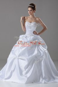 White Wedding Gown Taffeta Brush Train Sleeveless Embroidery and Pick Ups and Hand Made Flower