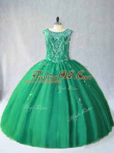 Green Ball Gowns Tulle Scoop Sleeveless Beading Floor Length Lace Up Ball Gown Prom Dress