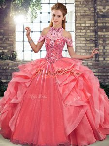 Stunning Watermelon Red Sleeveless Floor Length Beading and Ruffles Lace Up Vestidos de Quinceanera