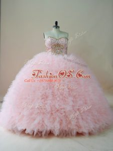 Fashion Sweetheart Sleeveless Ball Gown Prom Dress Brush Train Beading and Ruffles Baby Pink Tulle