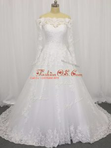 White A-line Beading and Lace Wedding Dress Clasp Handle Tulle Long Sleeves