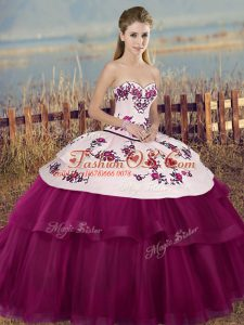 Sleeveless Floor Length Embroidery and Bowknot Lace Up 15th Birthday Dress with Fuchsia