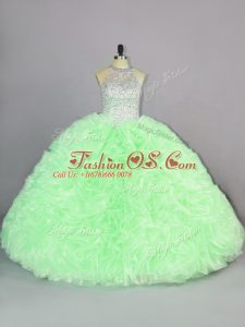 Ball Gowns Beading and Ruffles Quinceanera Dresses Lace Up Organza Sleeveless Floor Length