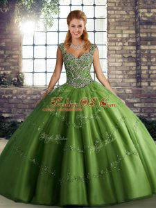 Glorious Tulle Sleeveless Floor Length Sweet 16 Dress and Beading and Appliques