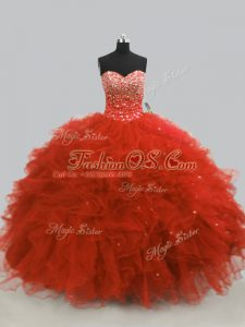 High Class Rust Red Tulle Lace Up Sweetheart Sleeveless Floor Length Ball Gown Prom Dress Beading and Ruffles