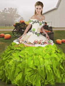 Fashion Olive Green Quinceanera Gowns Military Ball and Sweet 16 and Quinceanera with Embroidery and Ruffles Off The Shoulder Sleeveless Lace Up