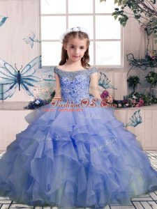 Superior Lavender Lace Up Off The Shoulder Beading and Ruffles Kids Formal Wear Organza Sleeveless