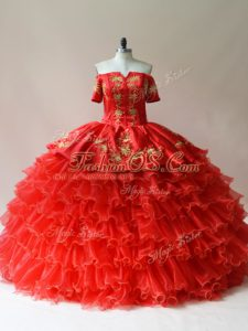 Off The Shoulder Sleeveless Sweet 16 Dresses Floor Length Embroidery and Ruffled Layers Red Organza