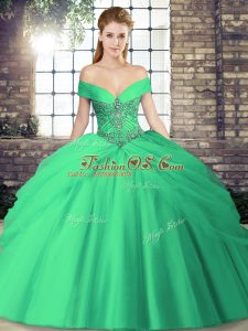 Sweet Turquoise Sleeveless Tulle Brush Train Lace Up Ball Gown Prom Dress for Military Ball and Sweet 16 and Quinceanera