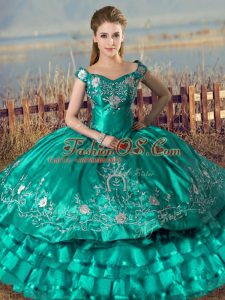 Dazzling Off The Shoulder Sleeveless Lace Up Quinceanera Dresses Turquoise Satin