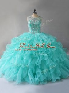 Sleeveless Organza Floor Length Lace Up 15th Birthday Dress in Aqua Blue with Beading and Ruffles