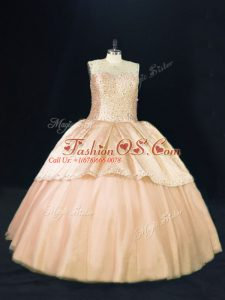 Floor Length Ball Gowns Sleeveless Peach 15 Quinceanera Dress Lace Up