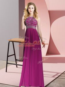 Fuchsia Sleeveless Chiffon Backless for Prom and Party