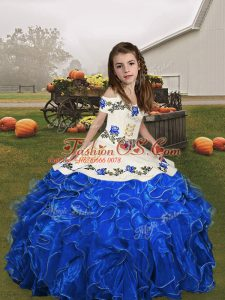 Royal Blue Child Pageant Dress Party and Wedding Party with Embroidery and Ruffles Straps Sleeveless Lace Up