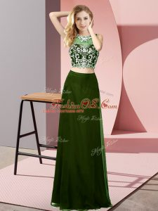 Graceful Scoop Sleeveless Backless Womens Party Dresses Olive Green Chiffon
