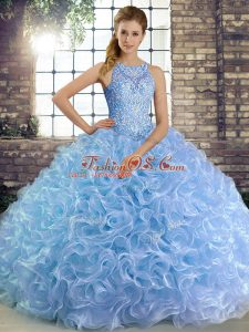 Shining Ball Gowns 15th Birthday Dress Lavender Scoop Fabric With Rolling Flowers Sleeveless Floor Length Lace Up