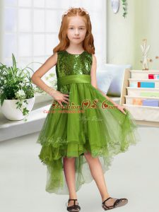 Olive Green Sleeveless Organza Zipper Toddler Flower Girl Dress for Wedding Party
