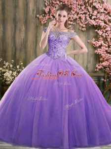 Fabulous Lavender Sleeveless Floor Length Beading Lace Up Quinceanera Gowns