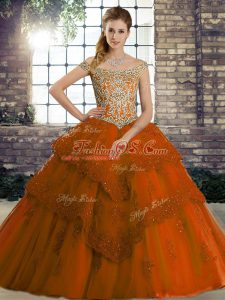 Rust Red Off The Shoulder Lace Up Beading and Lace Vestidos de Quinceanera Brush Train Sleeveless