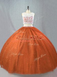 Sleeveless Floor Length Beading Zipper Quince Ball Gowns with Rust Red