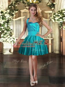 Dramatic Satin Halter Top Sleeveless Lace Up Ruching Womens Party Dresses in Teal