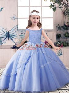 Blue Sleeveless Floor Length Beading Lace Up Little Girl Pageant Gowns