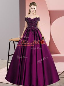Decent Purple A-line Satin Off The Shoulder Sleeveless Lace Floor Length Zipper 15 Quinceanera Dress