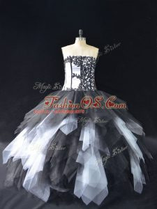 White And Black Strapless Neckline Lace and Ruffles Ball Gown Prom Dress Sleeveless Lace Up