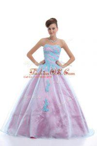 Super Light Blue Ball Gowns Sweetheart Sleeveless Organza Floor Length Lace Up Appliques Sweet 16 Dress