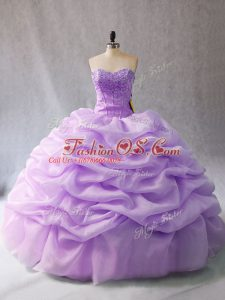 Ball Gowns Ball Gown Prom Dress Lavender Sweetheart Organza Sleeveless Floor Length Lace Up