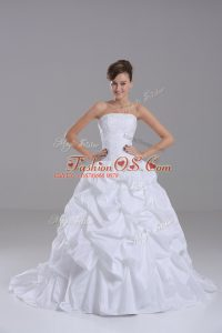 Sweet Strapless Sleeveless Brush Train Lace Up Wedding Dress White Taffeta
