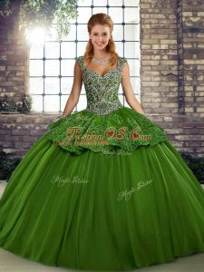 Sophisticated Green Sleeveless Tulle Lace Up Sweet 16 Dress for Military Ball and Sweet 16 and Quinceanera