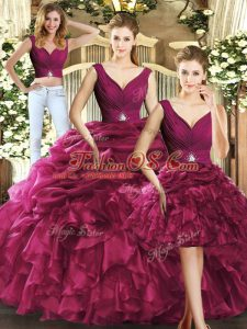 Beautiful V-neck Sleeveless Quinceanera Gowns Floor Length Ruffles and Pick Ups Burgundy Organza