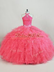 Captivating Ball Gowns 15th Birthday Dress Pink Halter Top Tulle Sleeveless Lace Up