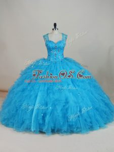 Stunning Straps Sleeveless Tulle 15th Birthday Dress Beading and Ruffles Zipper