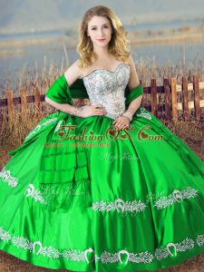 Affordable Sweetheart Sleeveless Satin 15th Birthday Dress Beading and Embroidery Lace Up