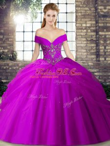 Inexpensive Ball Gowns Sleeveless Purple Sweet 16 Dresses Brush Train Lace Up