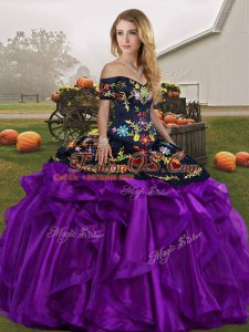 Embroidery and Ruffles Vestidos de Quinceanera Black And Purple Lace Up Sleeveless Floor Length