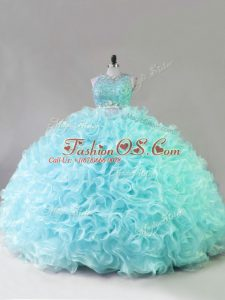 Suitable Two Pieces Sweet 16 Quinceanera Dress Blue Scoop Fabric With Rolling Flowers Sleeveless Floor Length Zipper