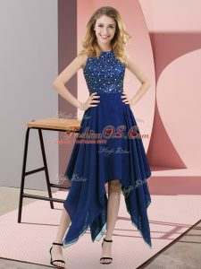 Fancy Royal Blue Chiffon Zipper Sleeveless Asymmetrical Beading and Sequins