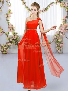 Floor Length Red Court Dresses for Sweet 16 One Shoulder Sleeveless Lace Up