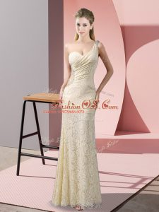 Fantastic Floor Length Criss Cross Red Carpet Gowns Champagne for Prom and Party with Beading and Lace
