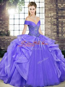 Hot Selling Beading and Ruffles Quinceanera Dresses Lavender Lace Up Sleeveless Floor Length