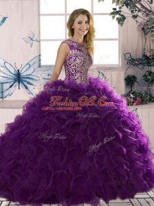 Ball Gowns Vestidos de Quinceanera Purple Scoop Organza Sleeveless Floor Length Lace Up