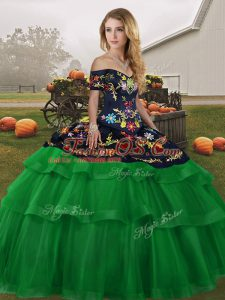 Green Ball Gowns Tulle Off The Shoulder Sleeveless Embroidery and Ruffled Layers Lace Up Quince Ball Gowns Brush Train