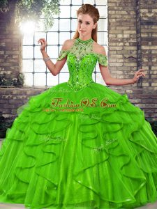 New Style Green Tulle Lace Up Halter Top Sleeveless Floor Length Ball Gown Prom Dress Beading and Ruffles